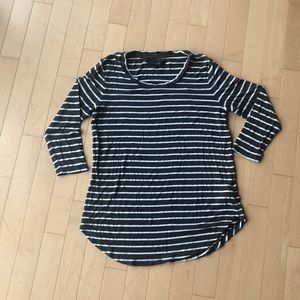 Grey and White Striped 3/4 Length Sleeved Tee